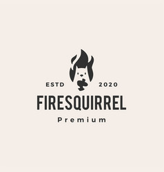 fire flame squirrel hipster vintage logo icon vector image
