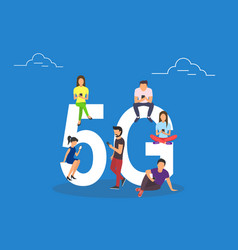 Flat people with gadgets sitting on the big 5g vector