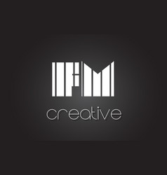 Fm f m letter logo design with white and black vector
