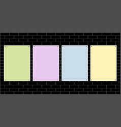 four colored paper sheets for text on a brick wall vector image