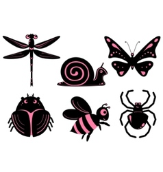 funny stylized insects vector image