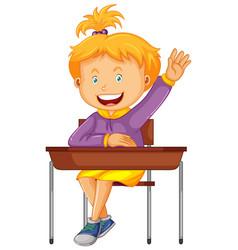 Girl student sit on school desk vector