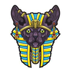 Goddess bastet stylized sphynx cat from ancient e vector