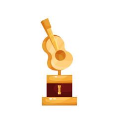 Golden statuette with guitar music award cartoon vector