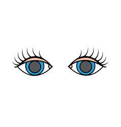 Grated vision eyes with eyelashes style design vector