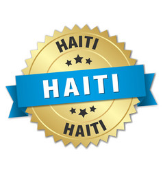 haiti round golden badge with blue ribbon vector image