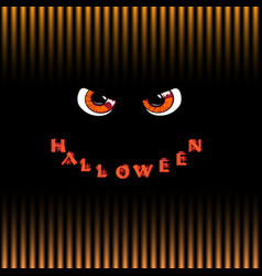 halloween card orange predatory monster eyes and vector image