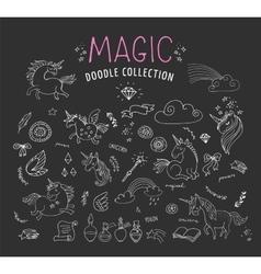 Hand drawn magic unicorn and fairy doodles vector