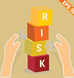Hand with risk box stacking - - eps10 vector
