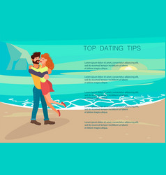 Happy people characters is kissing at beach vector