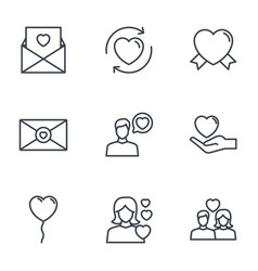 heart love romantic passion icons set vector image