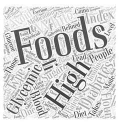 High glycemic foods Word Cloud Concept vector image