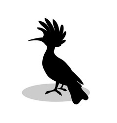 Hoopoe bird black silhouette anima vector