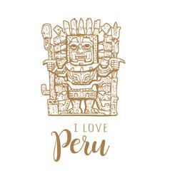 I love peru stone statue of peru vector