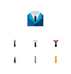 Icon flat clothing set of cravat shirt necktie vector