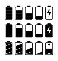 Icon set battery level indicators vector