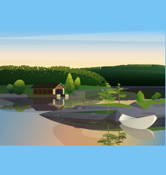 Image of tranquil landscape with remote vector