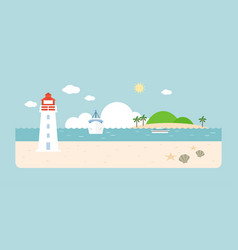 info graphic and elements of lighthouse vector image