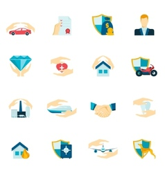 Insurance icons flat vector image vector image