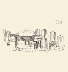 Japan Tokyo city architecture vintage engraved vector