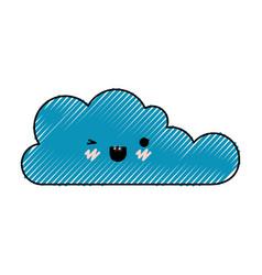 kawaii cloud icon flat in colored crayon vector image