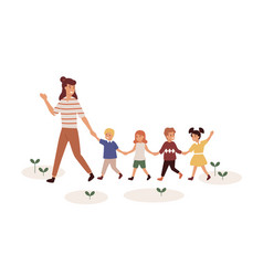 kindergartener with children flat vector image