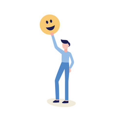 man holding emoticon or smiley face icon vector image