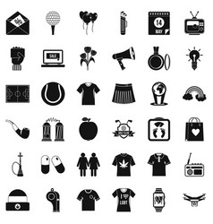 man polo icons set simple style vector image