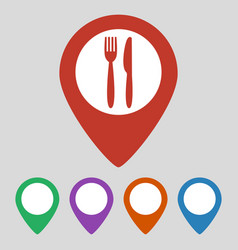 map marker location with fork and knife vector image