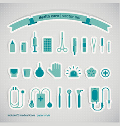 medical instruments paper style icons set vector image