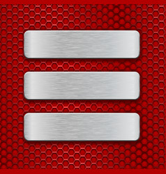 metal rectangular brushed plates on red perforated vector image