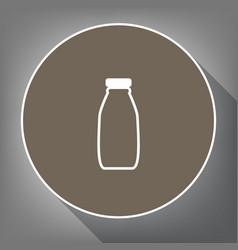 Milk bottle sign white icon on brown vector