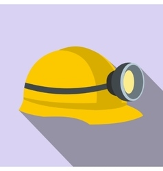 Miners helmet with lamp flat icon vector image