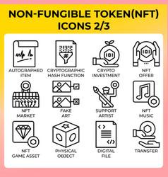 Nft - non-fungible token icon set vector