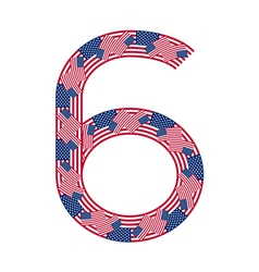 Number 6 made of USA flags on white background vector image