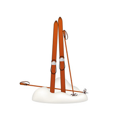Old wooden alpine skis and ski poles in snow vector