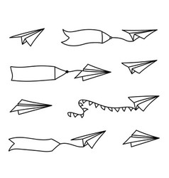 Paper airplane and blank advertising banner vector