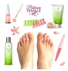 Pedicure Female Feet Set vector