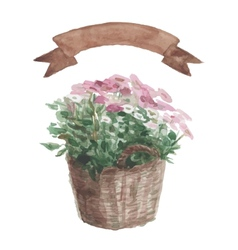 Pink flower in a flower pot beige ribbon set on vector