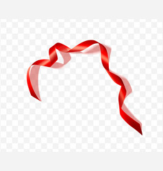red silk ribbon with shadow on transparent vector image