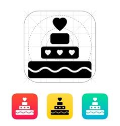 Romantic pie with heart icon vector
