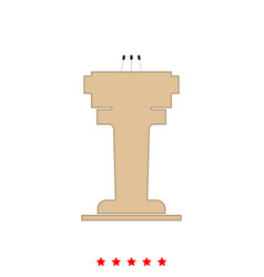 rostrum with three microphone it is icon vector image