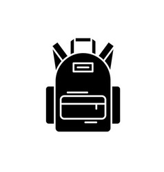 school bag black icon sign on isolated vector image