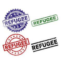 scratched textured refugee seal stamps vector image