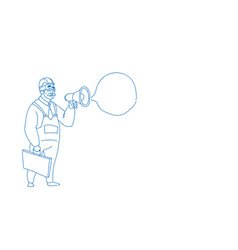 senior male builder holding megaphone making vector image
