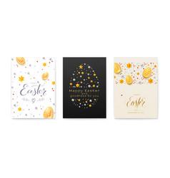 set easter decorative invitation festive vector image