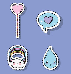 set kawaii tender with heart and chat bubble with vector image