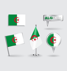 Set of Algerian pin icon and map pointer flags vector