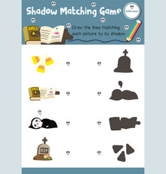 Shadow matching game halloween 6 vector