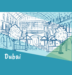 shopping center in dubai vector image